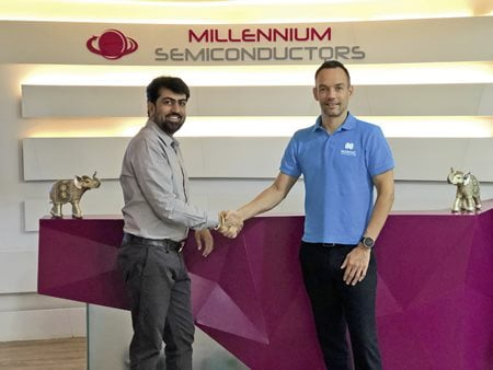 "Deal done: Millennium Semiconductors' Haresh Abichandani and Nordic's Bjørn Åge ""Bob"" Brandal"