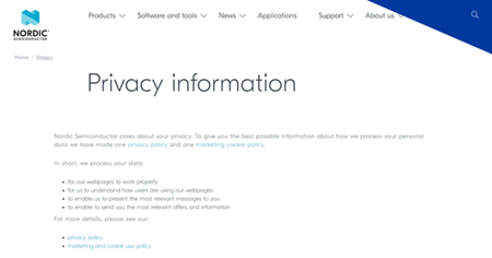 Privacy information screenshot for OG