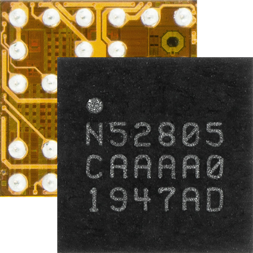 nRF52805 SoC front and back
